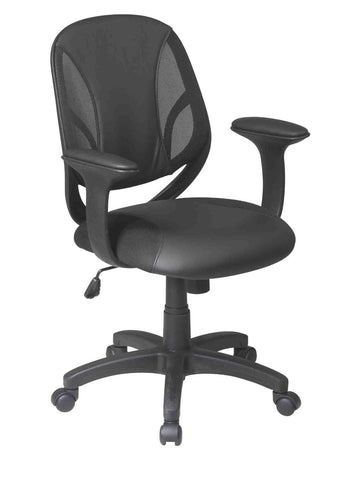 "Office Star Work Smart EM20522-3U Screen Back Managers Chair with Black Urethane and Mesh Seat with Urethane  Padded  ""T"" Arms - Peazz Furniture"