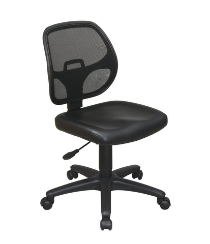 Office Star Work Smart EM2910V Mesh Screen Back Task Chair with Vinyl Seat - Peazz Furniture