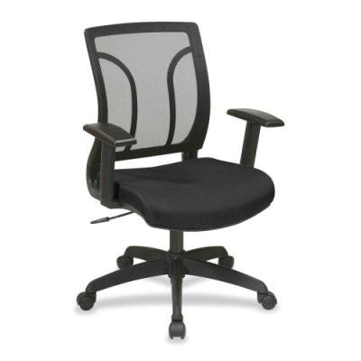 Office Star Work Smart EM50727-3 Screen Back Chair with Mesh Seat with Height Adjustable Arms - Peazz Furniture