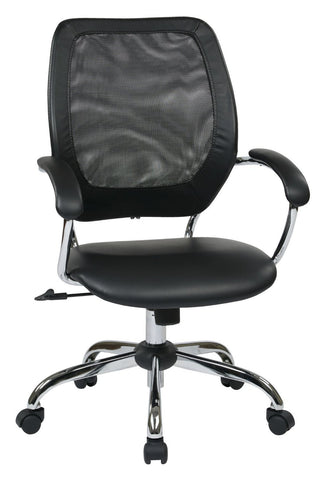 Work Smart EM52022C-U6 Designer Screen Back Managers Chair (Black) - Peazz.com