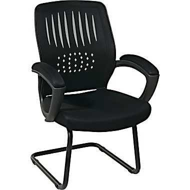 Office Star Work Smart EM5972V-EC3 Screen Back Over Designer Contour Shell Visitor Chair with Black Mesh Seat and Padded Arms - Peazz Furniture