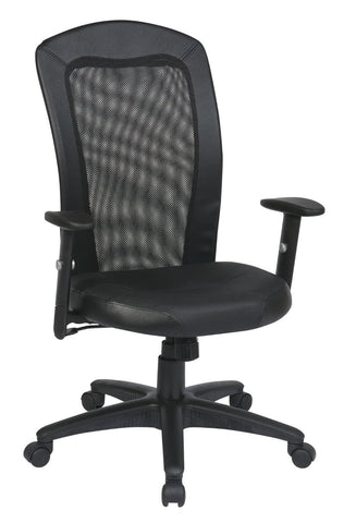 Office Star Work Smart EX1580-3 Screen Back Chair with Black Vinyl Trim and Leather Seat - Peazz Furniture