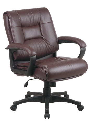 Office Star Work Smart EX5161-4 Deluxe Mid Back Executive Burgundy Glove Soft Leather Chair with Padded Loop Arms - Peazz Furniture