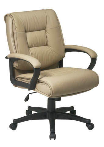 Office Star Work Smart EX5161-G11 Deluxe Mid Back Executive Tan Glove Soft Leather Chair with Padded Loop Arms - Peazz Furniture