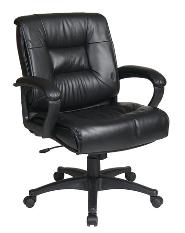 Office Star Work Smart EX5161-G13 Deluxe Mid Back Executive Black Glove Soft Leather Chair with Padded Loop Arms - Peazz Furniture