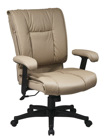 Office Star Work Smart EX9381-1 Deluxe Mid Back Executive Deluxe Coated Tan Leather Chair with Pillow Top Seat and Back - Peazz Furniture