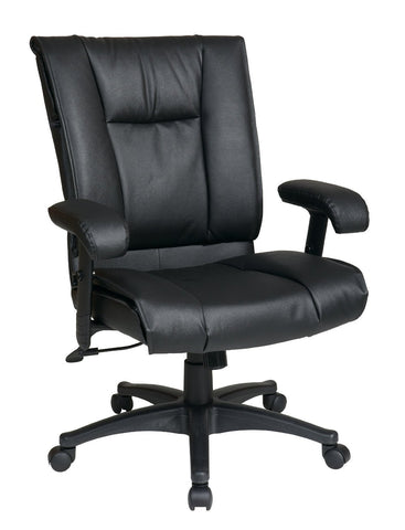 Office Star Work Smart EX9381-3 Deluxe Mid Back Executive Deluxe Coated Black Leather Chair with Pillow Top Seat and Back - Peazz Furniture