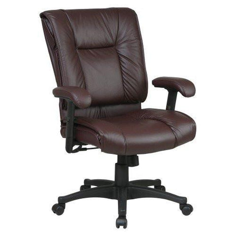 Office Star Work Smart EX9381-4 Deluxe Mid Back Executive Deluxe Coated Burgundy Leather Chair with Pillow Top Seat and Back - Peazz Furniture