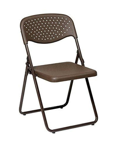 Office Star Work Smart FC8000NB-1 Folding Chair with Mocha Plastic Seat and Back and Mocha Frame. (4 Pack) - Peazz Furniture