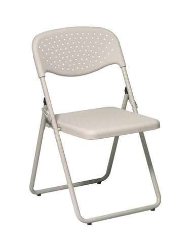 Office Star Work Smart FC8000NBG-11 Folding Chair with Beige Plastic Seat and Back and Beige Frame. (4 Pack) - Peazz Furniture