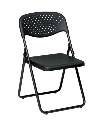 Office Star Work Smart FC8000NP-3 Folding Chair with Black Plastic Seat and Back and Black Frame. (4 Pack) - Peazz Furniture