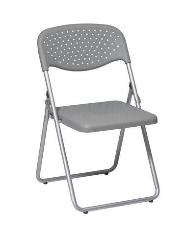 Office Star Work Smart FC8000NS-2 Folding Chair with Grey Plastic Seat and Back and Silver Frame. (4 Pack) - Peazz Furniture