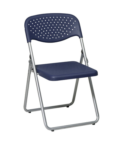 Office Star Work Smart FC8000NS-7 Folding Chair with Blue Plastic Seat and Back and Silver Frame. (4 Pack) - Peazz Furniture