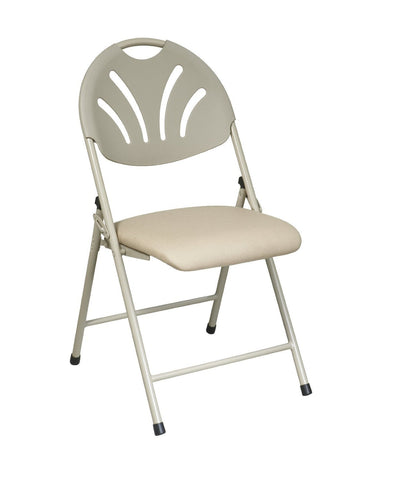Office Star Work Smart FC8100NBG-11 Folding Chair with Beige Plastic Fan Back and Beige Mesh Seat (4-Pack) - Peazz Furniture
