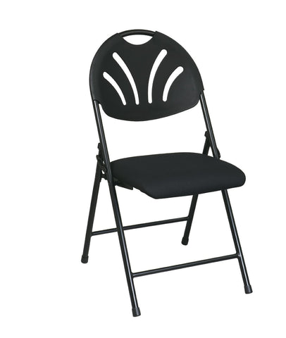 Office Star Work Smart FC8100NP-3 Folding Chair with Black Plastic Fan Back and  Fabric Seat with Black Frame (4-Pack) - Peazz Furniture