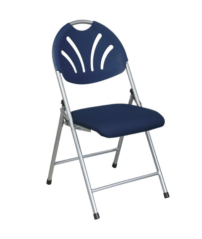 Office Star Work Smart FC8100NS-7 Folding Chair with Blue Plastic Fan Back and  Fabric Seat with Silver  Frame (4-Pack) - Peazz Furniture