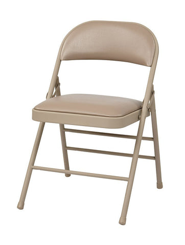 Work Smart FF-23124V Folding Chair with Vinyl Seat and Back (Tan) (4-Pack ) - Peazz.com