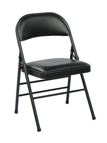 Work Smart FF-23324V Folding Chair with Vinyl Seat and Back (Black) (4-Pack) - Peazz.com