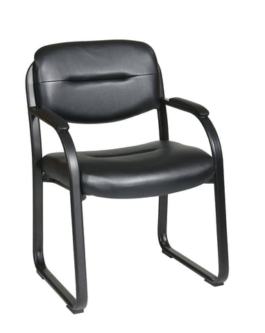 Office Star Work Smart FL1055-U6 Deluxe Faux Black Leather Visitors Chair with Sled Base - Peazz Furniture
