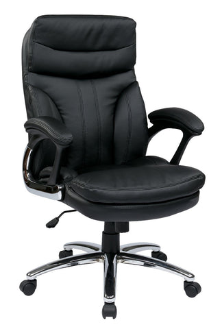 Work Smart FL2604C-U6 High Back Executive Faux Leather Chair with Padded Arms - Peazz.com