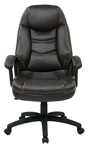 Work Smart FL3422-U1 Oversized Executive Espresso Faux Leather Chair with Padded Arms - Peazz.com