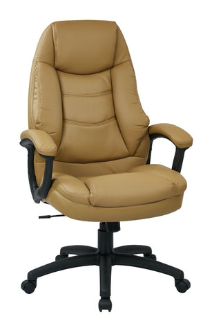 Work Smart FL3422-U31 Oversized Executive Tan Faux Leather Chair with Padded Arms - Peazz.com
