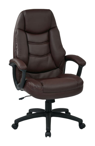 Work Smart FL3422-U4 Oversized Executive Burgundy Faux Leather Chair with Padded Arms - Peazz.com