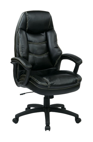 Work Smart FL3422-U6 Oversized Executive Black Faux Leather Chair with Padded Arms - Peazz.com