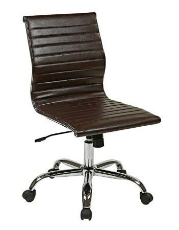 Work Smart FL3830C-U2 WorkSmart Thick Padded Espresso Faux Leather Seat and Back with Built-in Lumbar Support - Peazz.com
