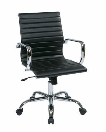 Work Smart FL3830C-U6 WorkSmart Thick Padded Black Faux Leather Seat and Back with Built-in Lumbar Support - Peazz.com