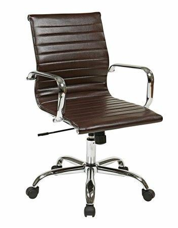 Work Smart FL3836C-U2 Thick Padded Espresso Faux Leather Seat and Back with Built-in Lumbar Support - Peazz.com