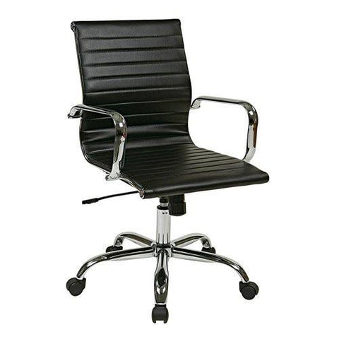 Work Smart FL3836C-U6 Thick Padded Black Faux Leather Seat and Back with Built-in Lumbar Support - Peazz.com