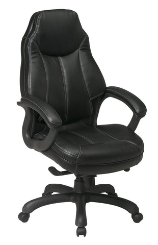 Office Star Work Smart FL642-U6 Deluxe Oversized Executive Black Faux Leather Chair with Padded Arms - Peazz Furniture