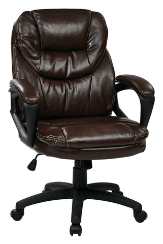 Office Star Work Smart FL660-U2 Faux Leather Managers Chair with Padded Arms - Peazz Furniture