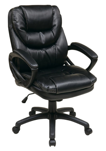 Office Star Work Smart FL660-U6 Faux Leather Managers Chair with Padded Arms - Peazz Furniture