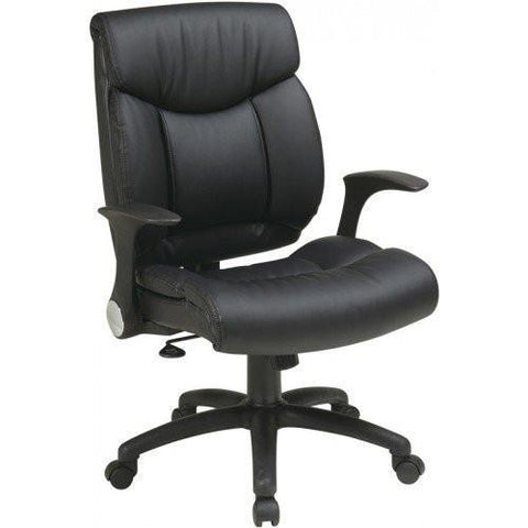 Office Star Work Smart FL89675-U6 Faux Leather Managers Chair with Flip Arms - Peazz Furniture