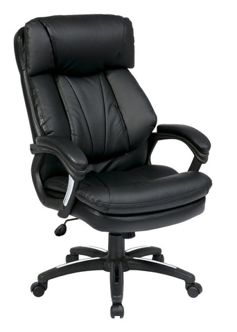 Office Star Work Smart FL9097-U6 Oversized Faux Leather Executive Chair with Padded Loop Arms - Peazz Furniture