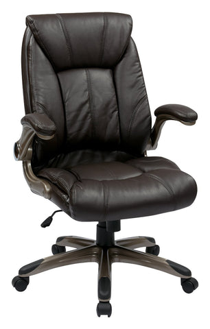 Work Smart FLH24981-U1 Faux Leather Mid Back Managers Chair with Padded Flip Arms - Peazz.com