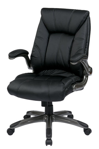 Work Smart FLH24987-U6 Faux Leather Mid Back Managers Chair with Padded Flip Arms - Peazz.com