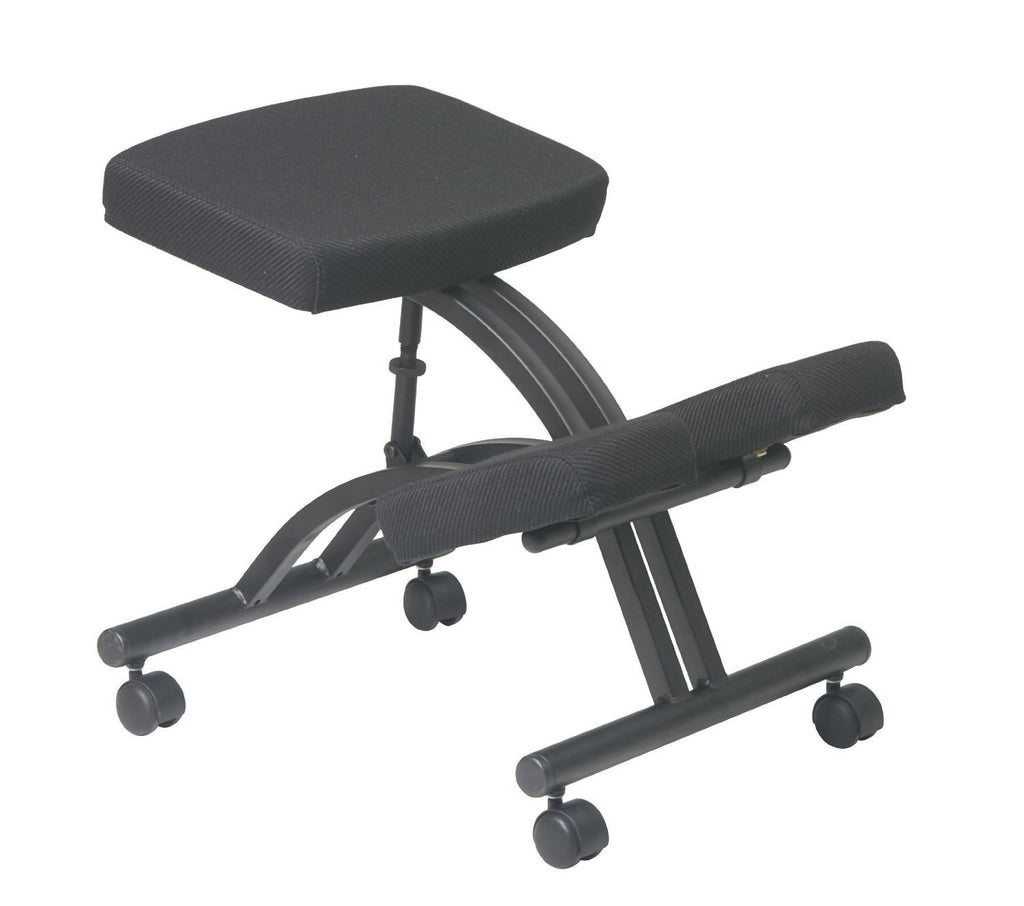 Office Star Work Smart KCM1420 Black Ergonomically Designed Knee Chair  Featuring Memory Foam And Dual Wheel