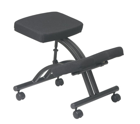Office Star Work Smart KCM1420 Black Ergonomically Designed Knee Chair Featuring Memory Foam and Dual Wheel Carpet Casters - Peazz Furniture