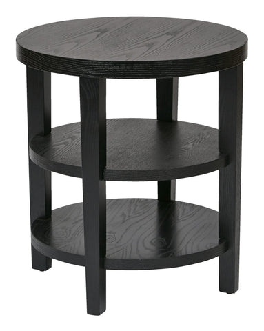 "Ave Six MRG09-BK Merge 20"" Round End Table Black Finish - Peazz Furniture"