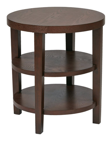 "Work Smart / Ave Six MRG09-MAH Merge 20"" Round End Table - Peazz.com"