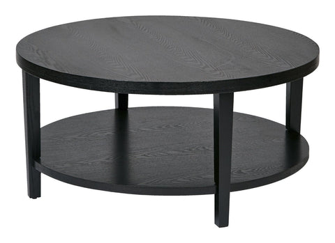 "Ave Six MRG12-BK Merge 36"" Round Coffee Table. Black Finish. - Peazz Furniture"