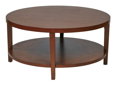 "Work Smart / Ave Six MRG12-CHY Merge 36"" Round Coffee Table. Cherry Finish. - Peazz.com"
