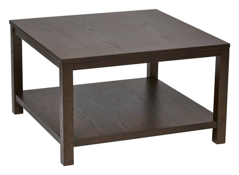 "Ave Six MRG12SR1-ESP Merge 30"" Square Coffee Table Espresso Finish - Peazz Furniture"