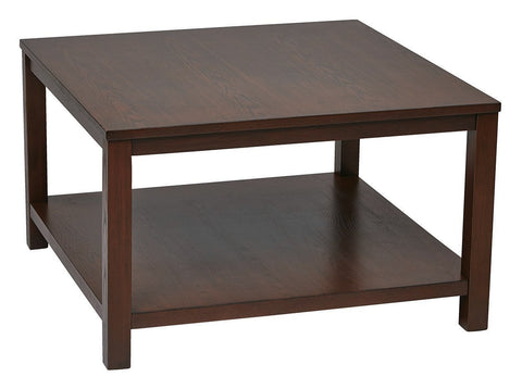 "Work Smart / Ave Six MRG12SR1-MAH Merge 30"" Square Coffee Table Mahogany Finish - Peazz.com"
