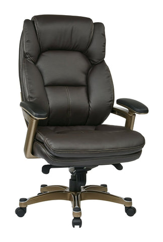 Work Smart OPH61601-EC1 Executive Eco Leather Chair (Cocoa/Espresso) - Peazz.com