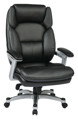 Work Smart OPH61606-EC3 Executive Eco Leather Chair (Silver/Black) - Peazz.com