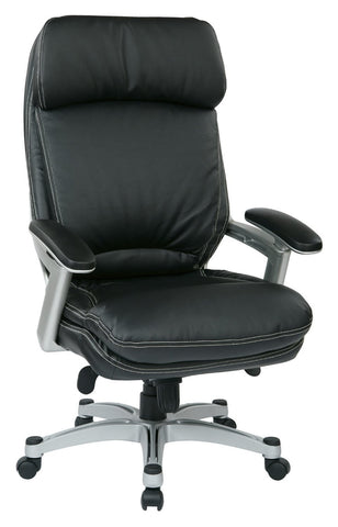 Work Smart OPH62606-EC3 Executive Eco Leather Chair (Silver/Black) - Peazz.com